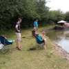 Members of the Franklin family putting all their effort into trying to tempt a gudgeon from the Grand Union at Marsworth in August 2019. Sadly, they all failed but there